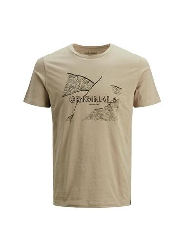 Jack & Jones Jack & Jones Erkek Baskılı Kum BisikletYaka T-Shirt Sarı